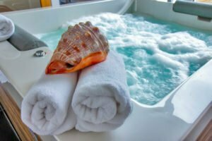 Walk in bath tub with hydrotherapy jets
